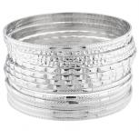 SilverTone Textured Indian Wedding Multi Bracelet Bangle Set