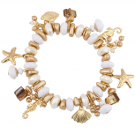 Gold Tone Nautical Starfish Shell Stretch Beaded Charm Bracelet