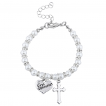 Silvertone FauxPearl First Communion Catholic Religious Bracelet