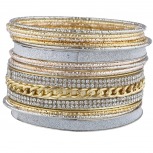 Mixed Metal Sticker Glitter Curb Chain Bangle Bracelet Set 15PC