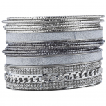 Silver Tone Sticker Glitter Curb Chain Bangle Bracelet Set 15PC