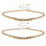Gold Tone Partners In Crime BFF Best Friend Bracelet Set