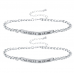 Silver Tone Partners In Crime BFF Best Friend Bracelet Set