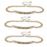 Gold Tone Best Bitches BFF Best Friend ID Bracelet Set