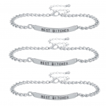 Silver Tone Best Bitches BFF Best Friend ID Bracelet Set