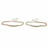 Gold Tone Big Sis Lil Sis BFF Best Friend ID Bracelet Set