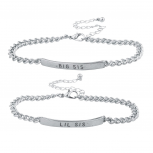 Silver Tone Big Sis Lil Sis BFF Best Friend ID Bracelet Set