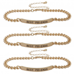 Gold Tone Best Friends BFF ID Bracelet Set Trio