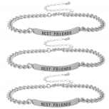 Silver Tone Best Friends BFF ID Bracelet Set Trio