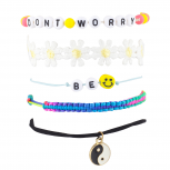 don't Worry Be Happy Hippie Daisy Smiley Arm Candy Bracelet Set
