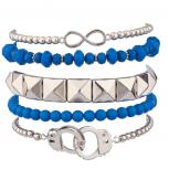 Handcuff Hand Cuff Blue Bead Pyramid Infinity Stretch Arm Candy Bracelet Set