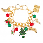 Christmas Xmas Stocking Santa Claus Gift Tree Candy Cane Jingle Ball Charm Bracelet