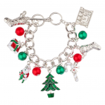 Christmas Xmas Stocking Santa Claus Gift Tree Candy Cane Jingle Ball Charm Bracelet.