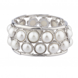 Faux Pearl Elegant Stretch Statement Bracelet