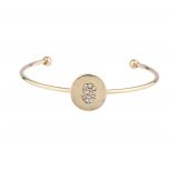 Gold Tone Initial S Crystal Stone Bangle Bracelet