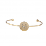 Gold Tone Initial M Crystal Stone Bangle Bracelet