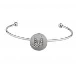 Silver Tone Initial M Crystal Stone Bangle Bracelet