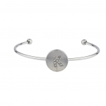 Silver Tone Initial K Crystal Stone Bangle Bracelet