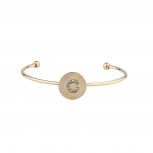 Gold Tone Initial C Crystal Stone Bangle Bracelet