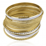 Pave Textured Mesh Glitter Multi Bangle Glam Set