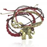 Woven Tribal Elephant Infinity Metal Leaf Arm Candy Bracelet Set