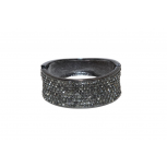 Gunmetal Rhinestone Glam Bangle Hinge Bracelet