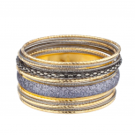 Glitzy Mixed Metal Multi Bangle Set