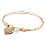 Gold Tone Love Heart Personalized Charm Pendant Bangle Bracelet