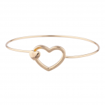 Gold Tone Open Heart Delicate Stackable Hook Bangle Bracelet