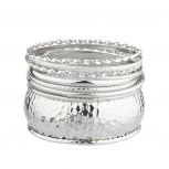 Rhodium Textured Multi Bangle Set (6 PC)