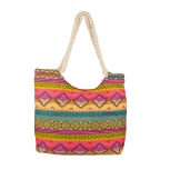 Womens Extra Large Zip Up Beach Tote Bag Aztec Pastel Geometric