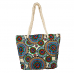 Womens Extra Large Zip Up Beach Tote Bag Multicolor Circles
