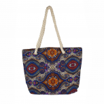 Womens Extra Large Zip Up Beach Tote Bag Paisley Multi