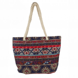 Womens Extra Large Zip Up Beach Tote Bag Paisley Red And Blue