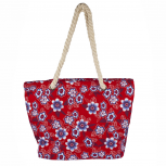 Womens Extra Large Zip Up Beach Tote Bag Red Flowers