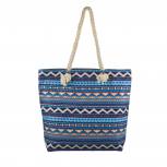 Lux Accessories Womens Zip Up Beach Bag Blue Aztec