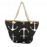 Lux Accessories Womens Zip Up Beach Bag BW Anchor