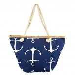 Lux Accessories Womens Zip Up Beach Bag Navy Anchor