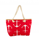 Lux Accessories Womens Zip Up Beach Bag RedWhite Anchor