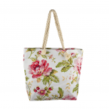 Lux Accessories Womens Zip Up Beach Bag Ivory Flowers