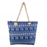 Blue and White Elephant Printed Summer Vacation Beach Bag Tote