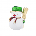 Gold Tone Christmas X-Mas Holiday Snowman Brooch Pin