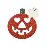 Happy Halloween Jack-O-Lantern Orange Ghost Pumpkin Brooh Pin