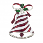Silver Tone Christmas X-mas Holiday Bell Ribbon Enamel Brooch