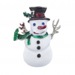 Christmas X-mas Holiday Snowman Enamel and Silvertone Brooch