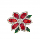 Holiday Christmas Xmas Flower Red Green Crystal Brooch Pin