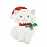 Holiday Christmas Xmas White Cat Kitty Santa Hat Brooch Pin