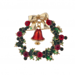 Holiday Christmas Green Red Rhinestone Wreath Bell Brooch Pin