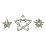Silver Tone Holiday Christmas Snowflake Star Pave Brooch Set 3PC