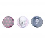 Pink White Blue Punk Rock Skulls Pin Set (3PCS)